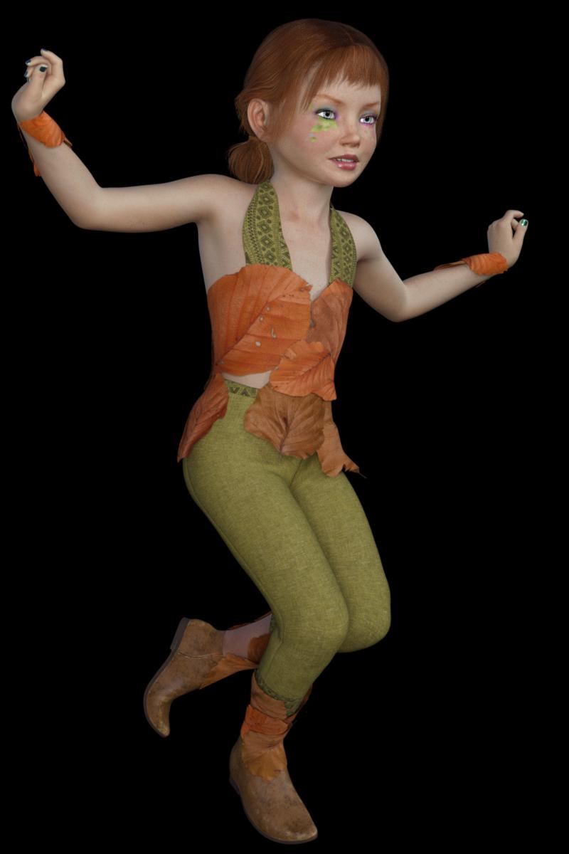 Tube de fillette elfe dansant (render-image)