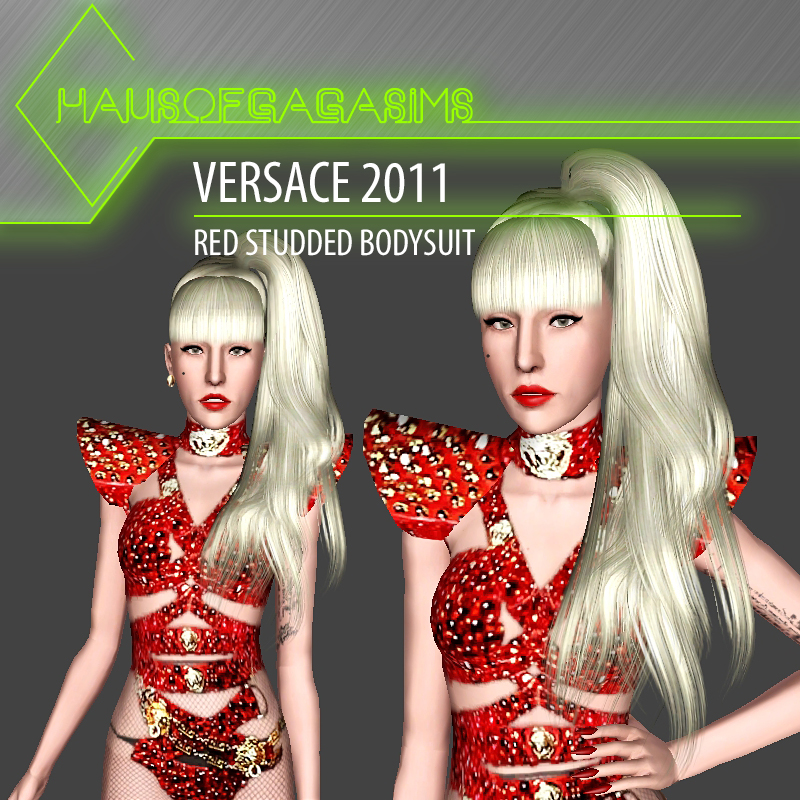 VERSACE 2011 RED STUDDED BODYSUIT