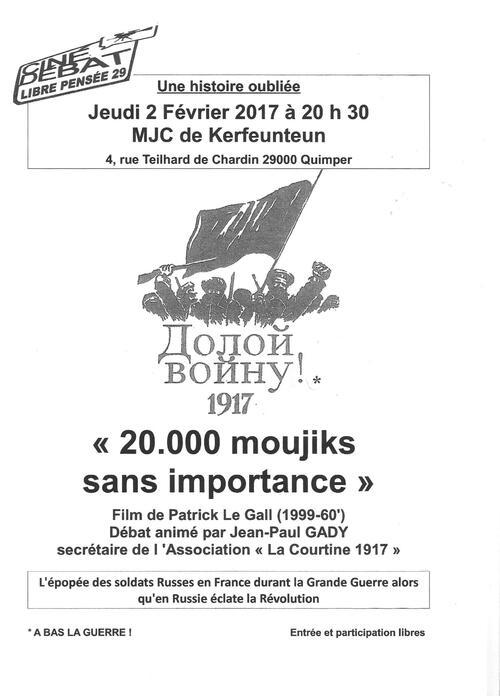 """Ciné-Débat LP29-""""20.000 moujiks sans importance""""-avec Jean-Paul GADY, secrétaire de l'Association """"La Courtine 1917"""""""