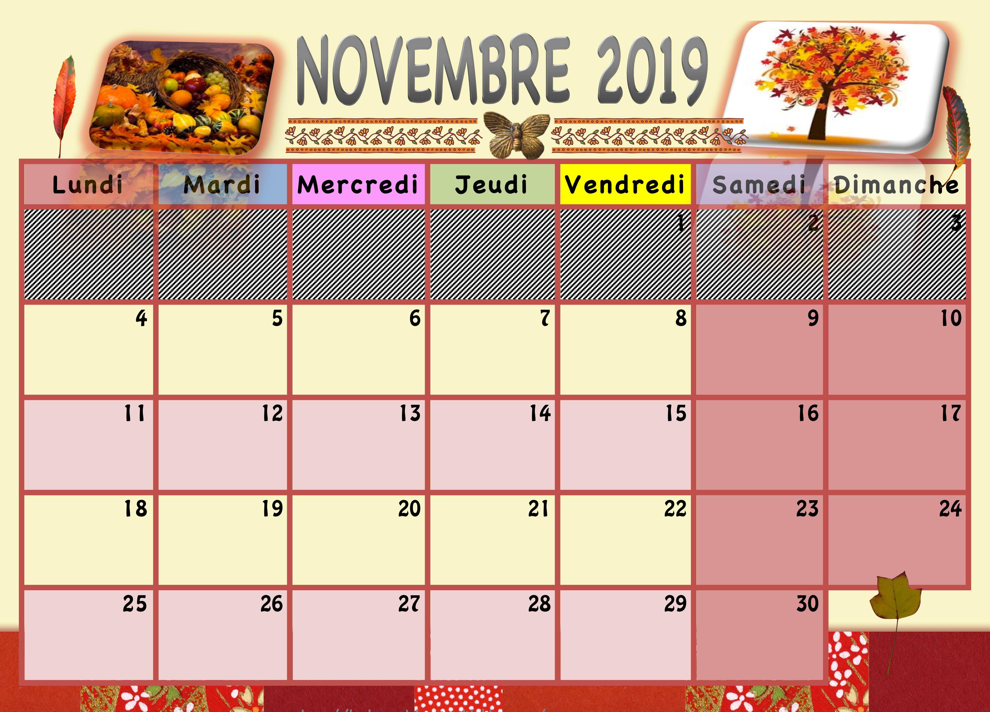 Calendrier A Imprimer Novembre 2019.Calendrier Enfant 2019 2020 La Classe De Luccia