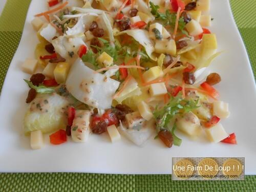 Salade composée d'endives (pomme, raisins & emmental)