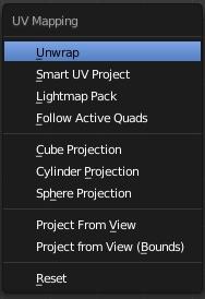 Menu de dépliage  pour le UV Mapping (commande U)