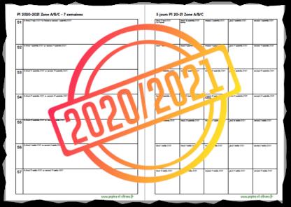 Planning des périodes en semaine à 5 jours 2020/2021