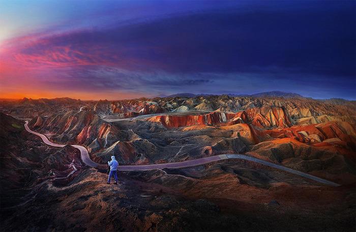 Les Collines Multicolores Du Relief De Danxia En Chine...