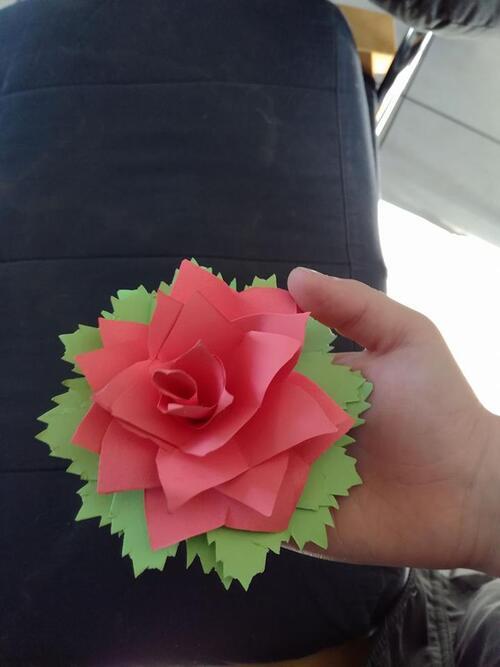 rose en papier