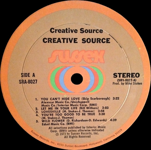 "Creative Source : Album "" Creative Source "" Sussex Records SRA-8027 [ US ] en 1973"