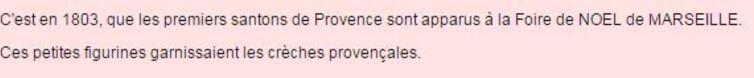 **    Pour NOEL  :  Les SANTONS de PROVENCE  **