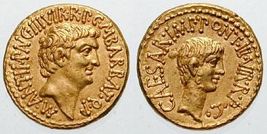 Pièce avec portrait de profil d'Antoine d'un côté, d'Octavien de l'autre.