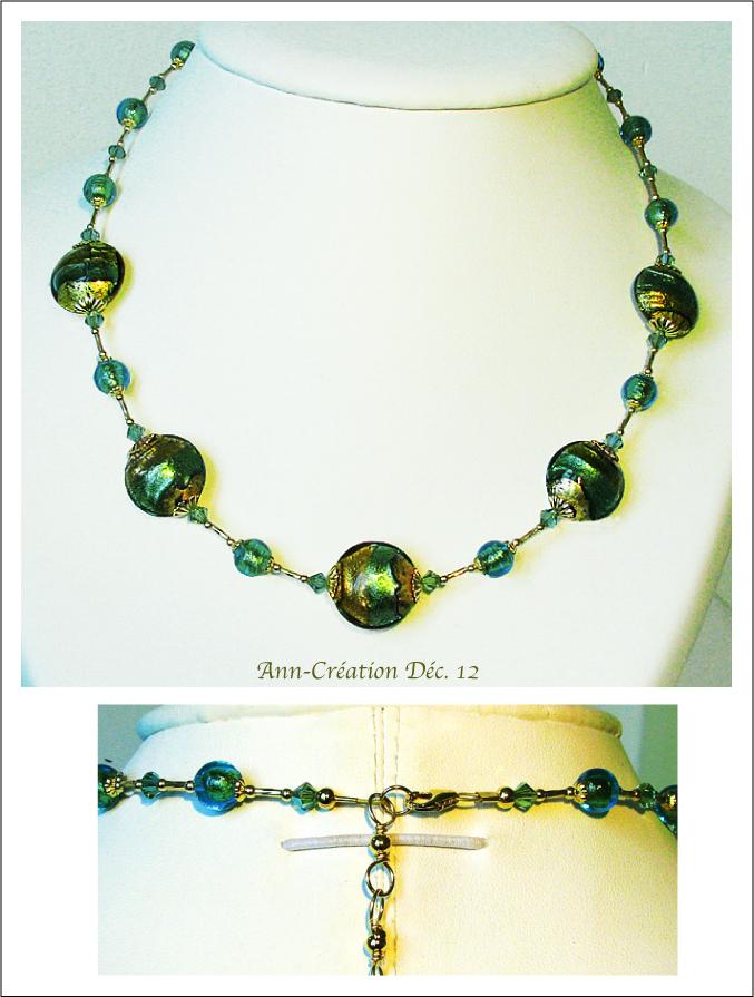 Collier Vert d'Eau Verre de Murano Authentique Feuille d'Or 24 Kt / Plaqué Or