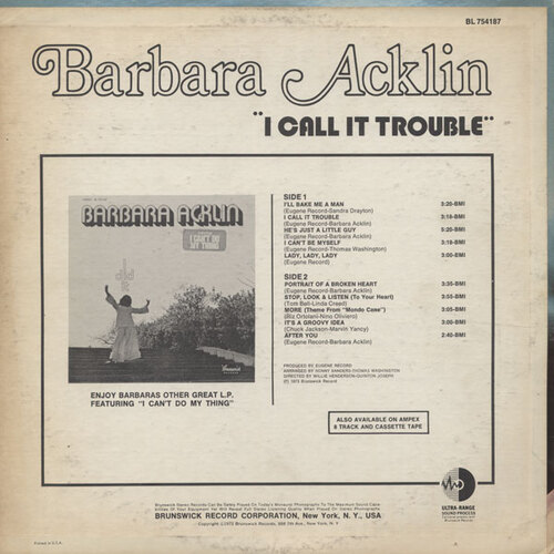 "Barbara Acklin : Album "" I Call It Trouble "" Brunswick Records BL 754187 [ US ]"