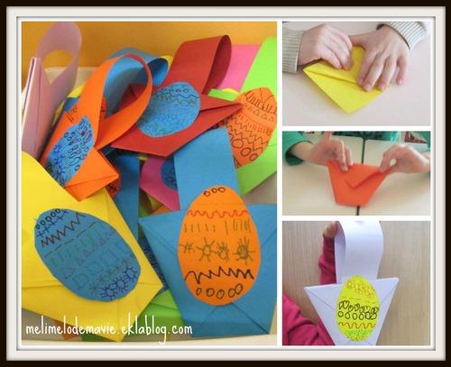 Panier de Paques origami maternelle