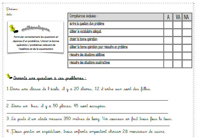 évaluation problèmes : formuler une question /situations additives et soustractives