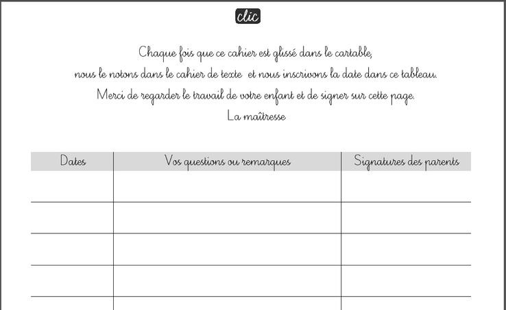Cahier du jour et signature des parents