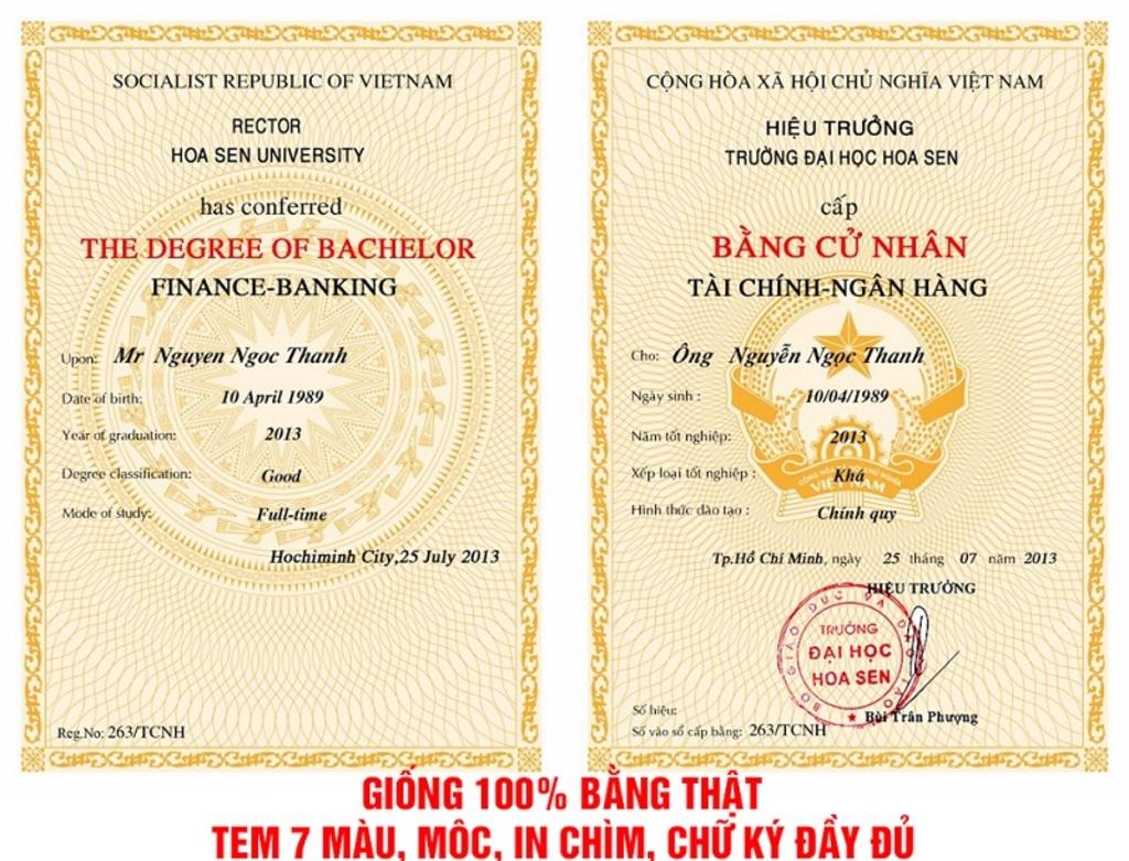 Địa chỉ làm bằng đại học uy tín giá rẻ tại tphcm
