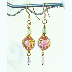 Boucles Verre de Murano authentique, Wedding Cake Fleurs Roses Feuille d'Or / Plaqué Or 14 kt Gold Filled