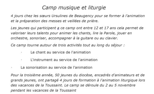 Le Camp Musique et Liturgie