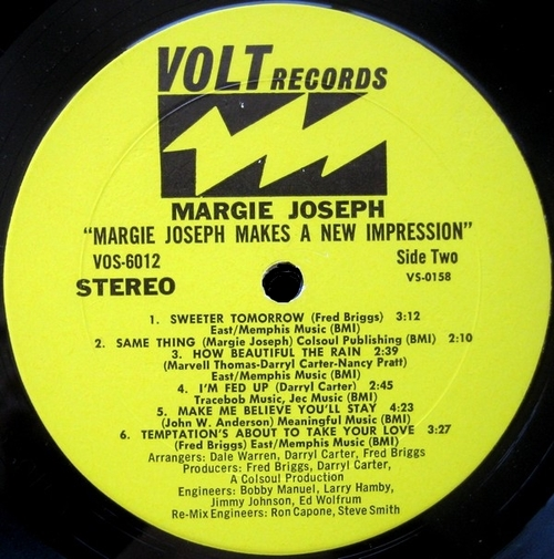 "Margie Joseph : Album "" Makes A New Impression "" Volt Records VOS-6012 [ US ]"