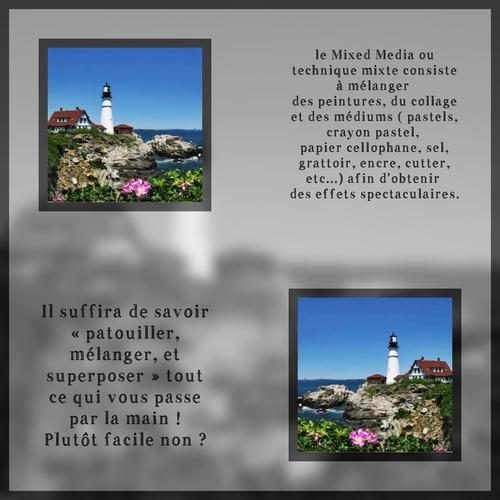 Dessin et peinture - vidéo 3585 : La technique mixte (mixed média) et le phare - aquarelle.