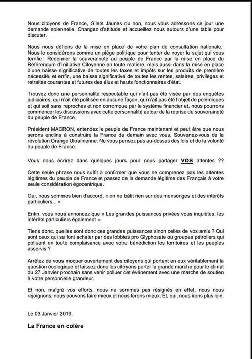 Lettre des Gilets Jaunes   La France en Colère  du 3 janvier 2019  à Macron