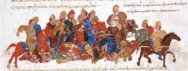 Poursuite des guerriers de Sviatoslav par l'armée petchénègue, chronique de Jean Skylitzes, XIe-XIIe siècle, manuscrit de Madrid, Bibliothèque national d'Espagne.