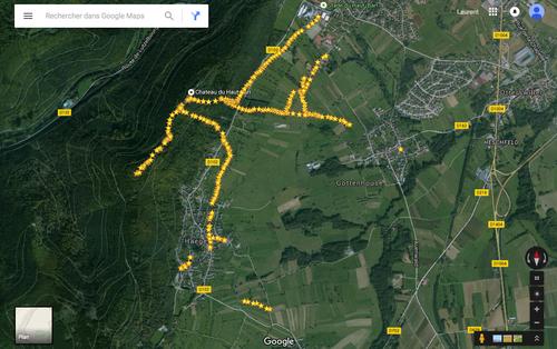 Les relevès GPS des souterrains du château du Haut Barr. (Albert Fagioli)(Photo Google Earth)