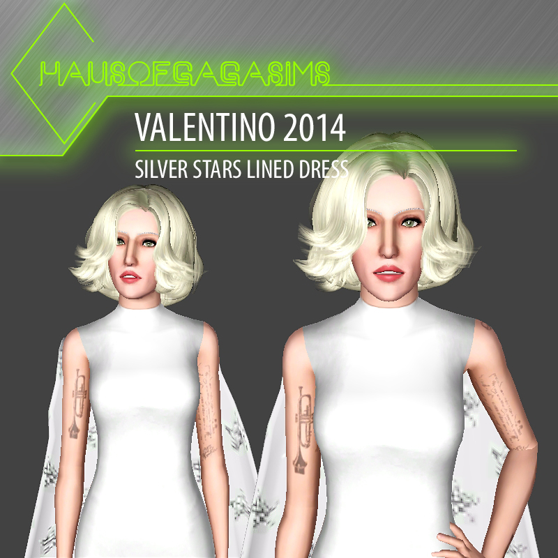 VALENTINO 2014 SILVER STARS LINED DRESS