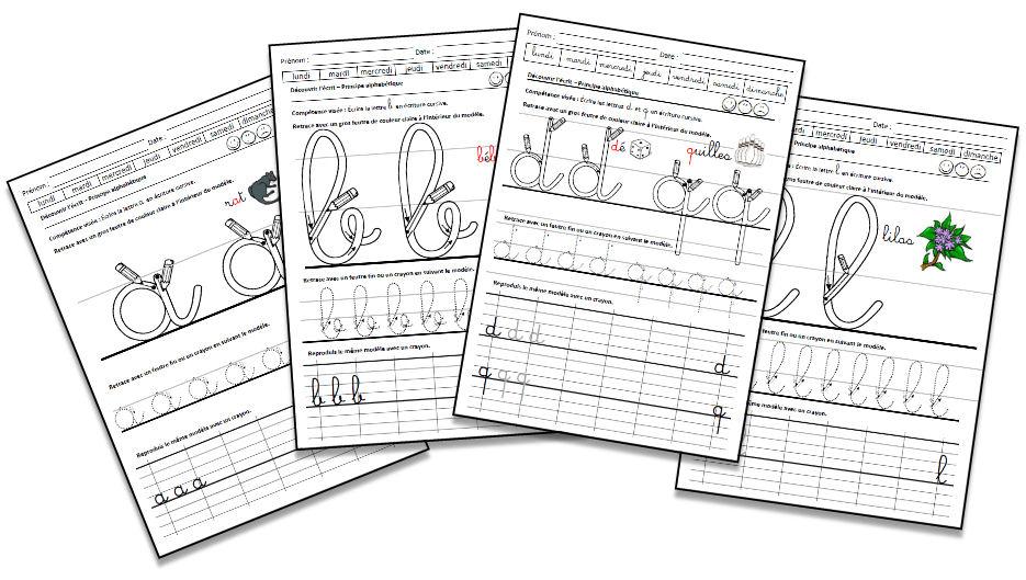 Alphabet en lettres cursives - La classe de MaoaM