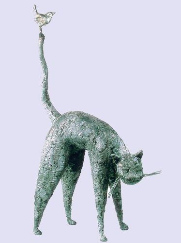 ► Sculpture de Serge Sangan, Chat et l'oiseau