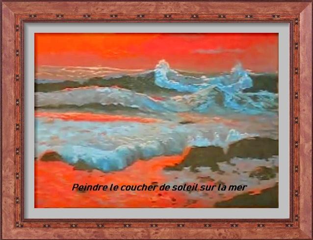 Dessin et peinture - vidéo 2920 - Peindre un coucher de soleil coloré sur une mer agitée 1 - acrylique ou huile.