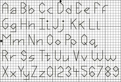 free printable cross stitch patterns alphabet | Free Four Stitch High Back Stitch Alphabet and Numbers Pattern - Free ...
