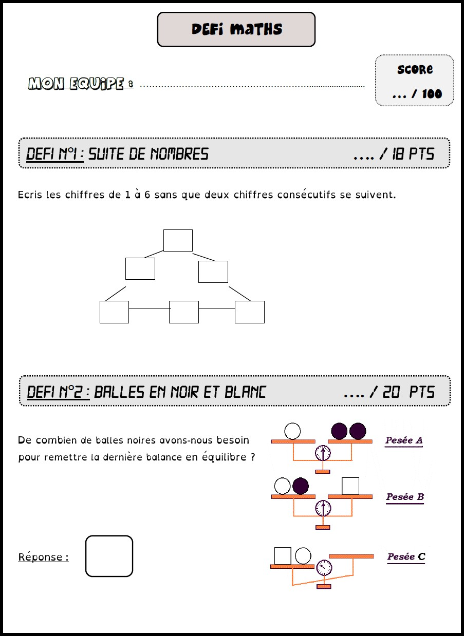 image défi maths 5