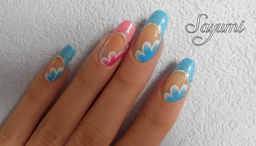 Nail Art Bleu / Rose