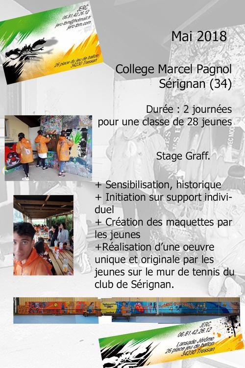stage graff avec les 28 jeunes de la classe de troisieme du college de Sérignan (34) Fresque sur le mur du tennis club. Mai 2018. les photos : http://www.jerc-tbm.com/crbst_5.html