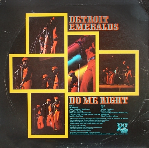 "Detroit Emeralds : Album "" Do Me Right "" Westbound Records ‎WB 2006 [ US ]"