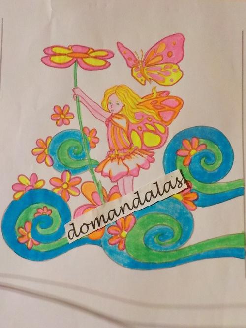 DOMANDALAS  coloriage petite fée aux fleurs
