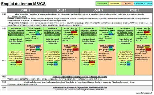 Emploi du temps MS/GS 2018-2019