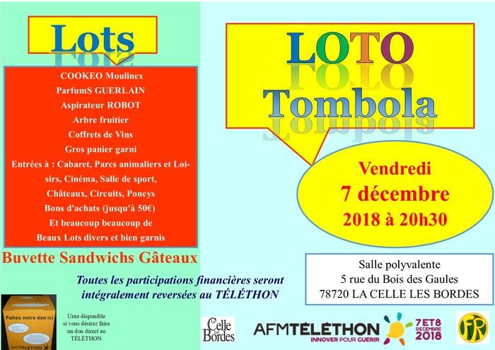Téléthon et LOTO Tombola à La Celle les Bordes vendredi 7 décembre 2018 à 20h30