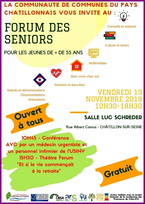 Le Forum des Seniors 2019 aura lieu vendredi 15 novembre, salle Luc Schréder de Châtillon sur Seine