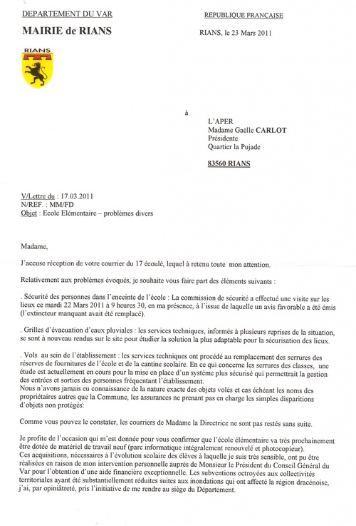 Courrier mairie