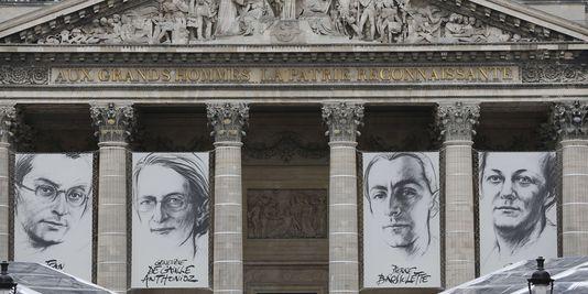 Le fronton du Panthéon, qui s'apprête à recevoir Jean Zay, Genevieve deGaulle-Anthonioz, Pierre Brossolette et Germaine Tillion.