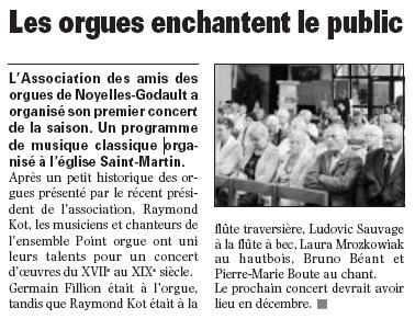 Concert du 20 septembre 2009 à Noyelles-Godault