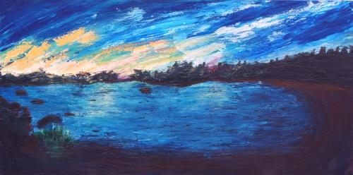 298. Tombée du jour à Portlligat (de la maison de Dali) Acrylique sur toile de 1m x 0,55. Mai 2012