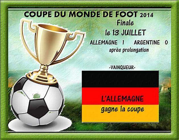 COUPE DU MONDE DE FOOT .... C' EST FINI !!