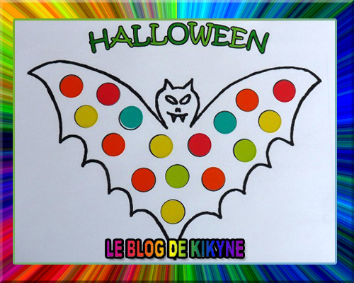 Coloriages à gommettes d'Halloween
