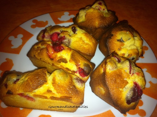 Mini-cakes aux cranberries (canneberges) - chocolat blanc