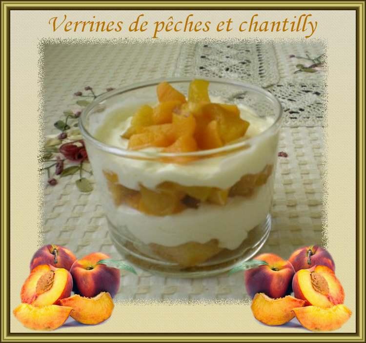 Recette de cuisine : Verrines de Pêches et de Chantilly