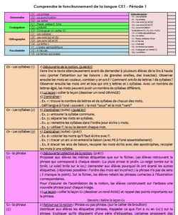 Période 1 - CE1 - Comprendre le fonctionnement de la langue (détails)
