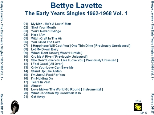 "Bettye Lavette : CD "" The Early Years Singles 1962-1968 Vol. 1 "" SB Records DP 27 [ FR ]"