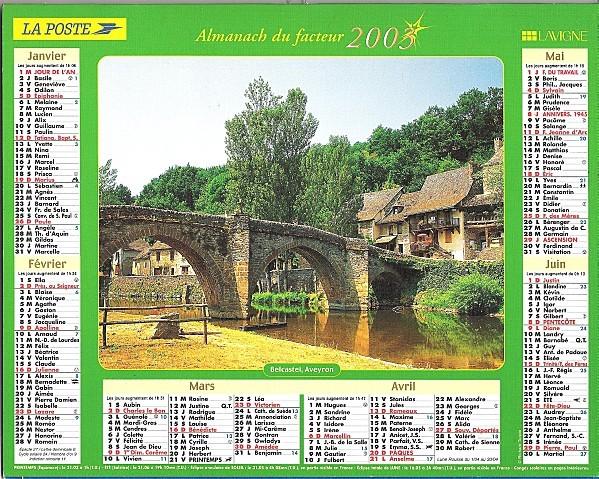 Calendrier du facteur 1S2003