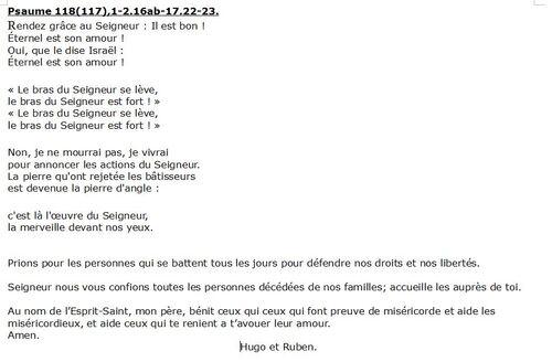 Prière du 17 novembre